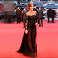 Black Vestidos De Noche Long Sleeve Celebrity Dresses Tulle Hand Appliqued Beaded Long Evening Dresses Sexy Red Carpet Dresses