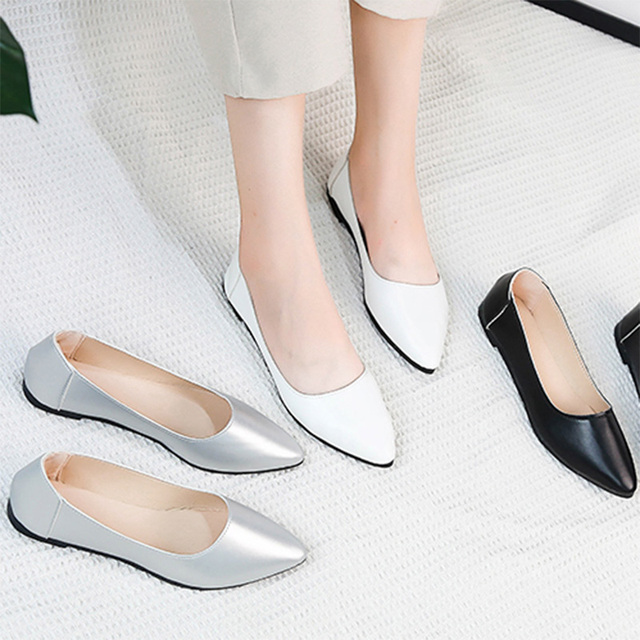 b4f2bec57bcf Spring Autumn Women Ballet Flats Pointed Toe Slip on Flat Shoes Woman Shoes  White Low Heels
