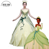 New Style Top Quality The Princess and The Frog Tiana Cosplay Princess Adult Costume Halloween Dress Custom Made