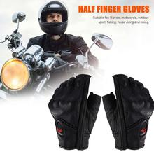 Unisex Motorcycle Gloves M/L/XL/XXL Leather Summer Breathable Half Finger Mitt Glove For Scooter Moto Electric Bike Racing Cycle недорого