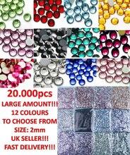 20,000pcs 2mm Rhinestones Nail Decoration Round Colorful Glitters for  DIY Art Decorations, 12colors 3D Rhinestone