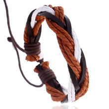 European American Mens Simple Vintage Leather Hemp Rope Woven Jewelry Student Fashion Adjustable Bracelet Accessories