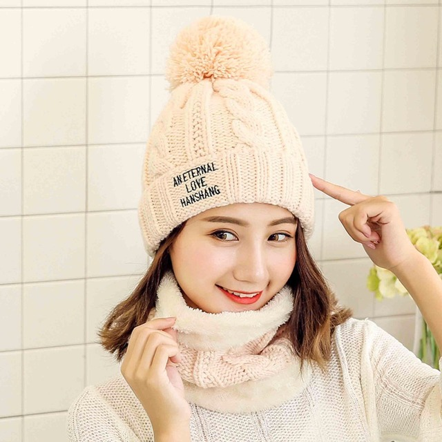5cbdd13cbfb 2018 Pom Poms Winter Hats Women Girls Beanie hats Scarf Set Solid Black Red  Scarf For