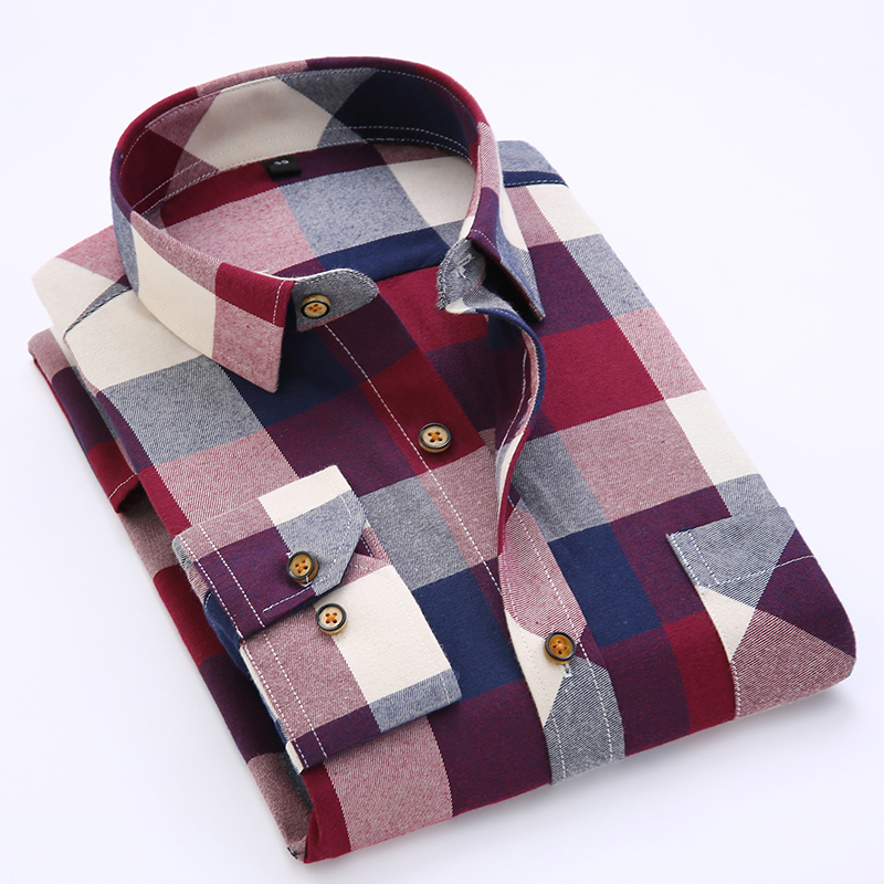 New Men's Long Sleeve Contrast Bold Plaid Shirt With Left Chest Pocket Slim-fit Comfortable Soft Work Casual Shirts