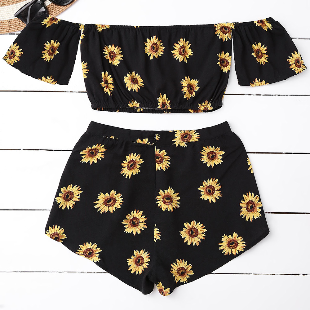 45196c76ee17f0 ZAFUL Women   S Sets Bohemain Sexy Off Shoulder Floral Print Crop Top  Sunflower Mini Shorts ...