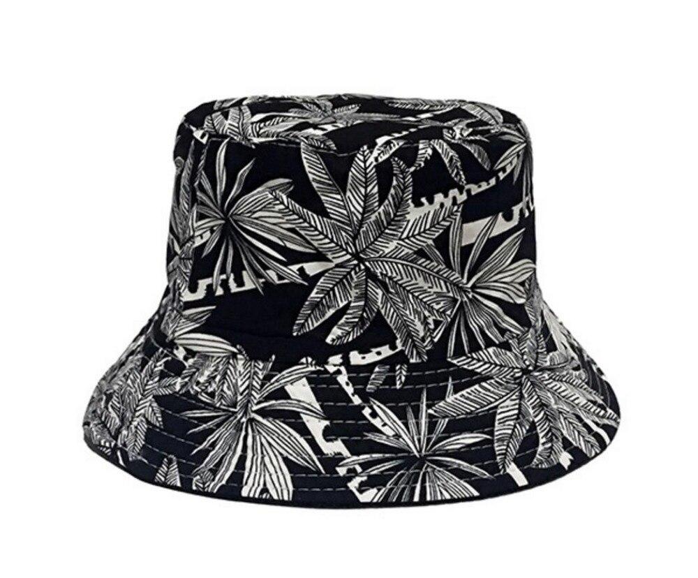 f1fb5d76e53 MinanSer Women s Coconut Tree Printed Bucket Hats Women Reverse Harajuku Vintage  Bucket Cap Hawii Weed Leaves Bucket