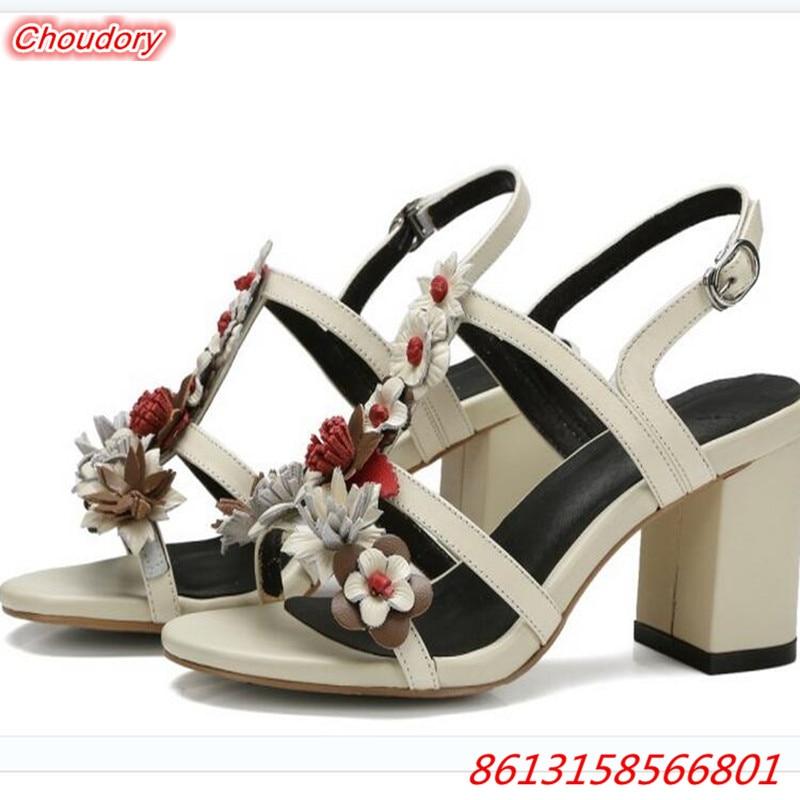 Bohemia Elegant Style Buckle Ankle Strap font b Women b font Sandals High Square Heels Open