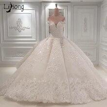 Luxo dubai rendas vestidos de casamento brilho frisado cristal rendas vestidos de noiva ilusão árabe voltar vestido de noiva 2018