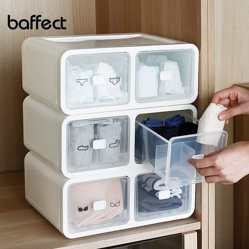 Baffect Plastic Storage Drawers Organizer Box For Socks Underwear