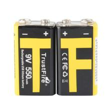 10pcs/lot TrustFire 9V 550mAh Rechargeable USB Lithium Battery with Safety Relief Valve and LED Indicator for Multimeter/Alarm