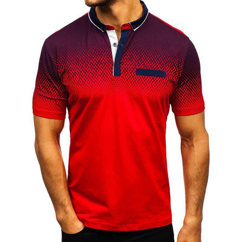 Men's Polo Shirt 2019 New Summer Short Sleeve Turn-over Collar Slim Tops Casual Breathable 3D Print Short Sleeves Polo Shirts
