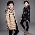 Мальчики пуховик с капюшоном тонкий срез 12 в возрасте 10 лет и длинные участки 2016 новых детская одежда детей пальто Zhongda 8 9
