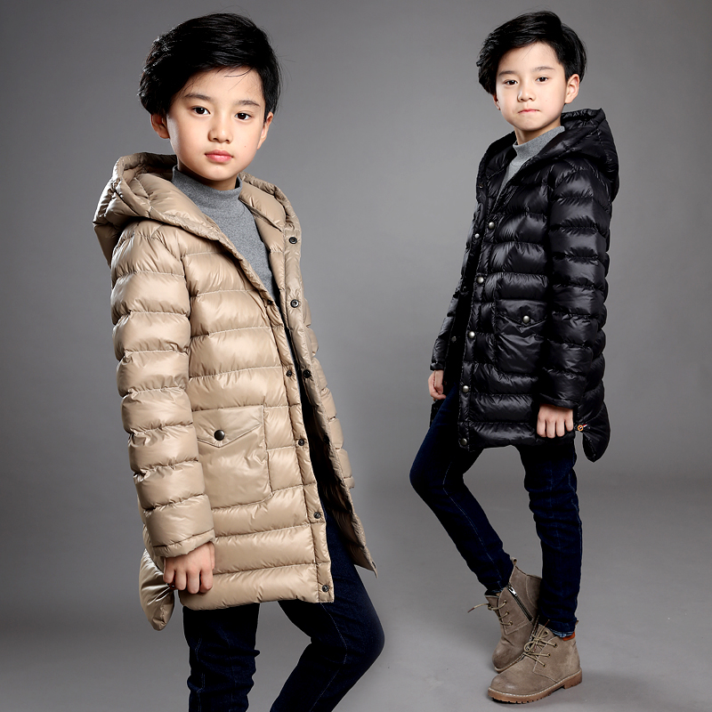 ФОТО Boys hooded down jacket thin section 12 age 10 and long sections 2016 new children's clothing children coat Zhongda 8 9