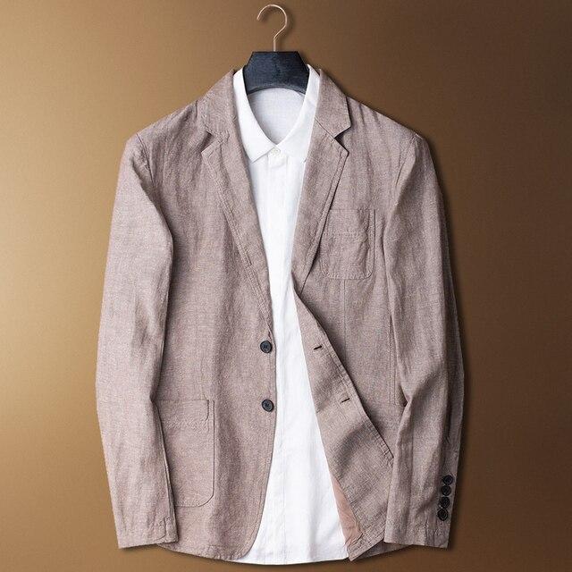 新着ファッションメンズ夏コットンリネンのスーツジャケット薄型カジュアル潮シングルブレスト高品質プラスサイズ MLXL2XL3XL4XL