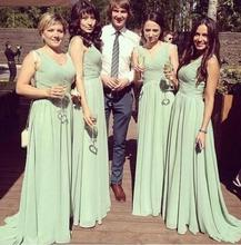 2016 Mint Green Long Chiffon Bridesmaids Dresses 2016 Mermaid With Ruffles Wedding Party Dresses Cheap Bridesmaid Gown F5