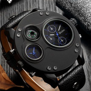 Image 2 - Oulm ייחודי חדש ספורט שעונים לגברים יוקרה מותג מקרית עור מפוצל צבאי שעון זכר דקורטיבי מצפן קוורץ שעון גבר