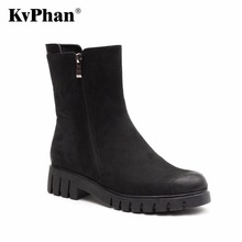 KvPhan Double Zipper Winter Women Shoes Woman Casual Genuine Leather Wedges Snow Boots Velvet Warm Ankle Boots Women Boots