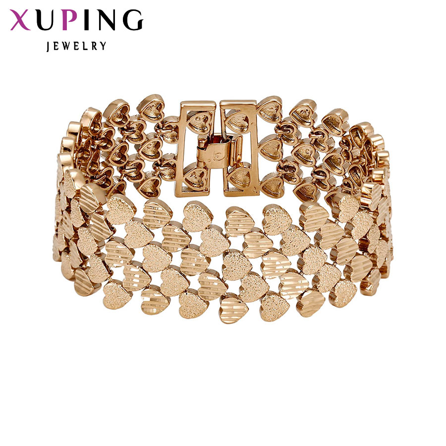 11.11 Deals Xuping Fashion Bracelet Top Quality Simple Smooth Small Heart Gold Color Plated Bracelet Jewelry Promotion 72450 gold plated rhinestone heart circle charm bracelet