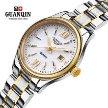 Бренд GUANQIN женские часы кварцевые часы женщины кварцевые часы кристалл урожай бизнес relogio feminino классический сапфир