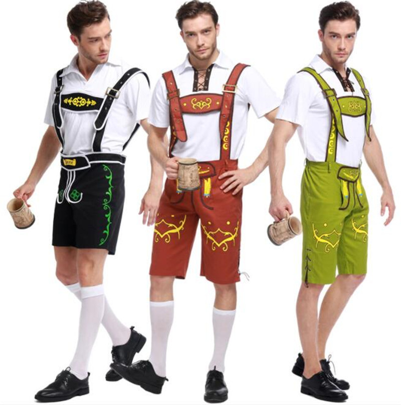 3 colors fashion man Germany Bavaria Oktoberfest beer festival work clothes Costume Halloween Carnival Party Cosplay  A037