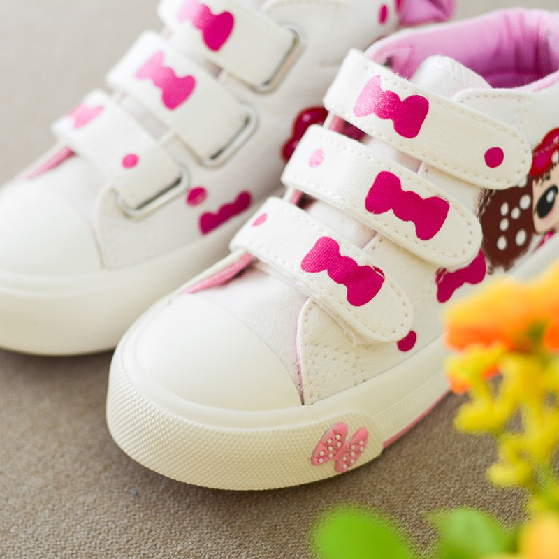 17 New Canvas Children Sneakers Bowknot Baby Girls Princess Shoes Denim Kids Sneakers Polka Dot Flat Boots for Girls 8