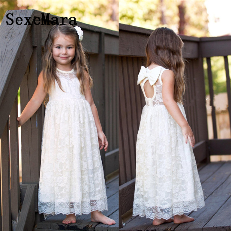 White Lace Keyhole Back Flower Girl Dresses for Wedding Applique Floor Length Girls Birthday Gown Christmas Dress Custom Made girls keyhole back floral embroidered mesh top