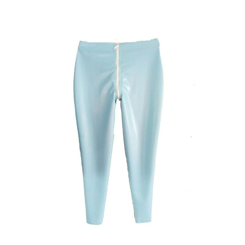 Pantalon Latex pur 100% bleu clair avec fermeture éclair blanche pantalon unisexe taille XXS-XXL