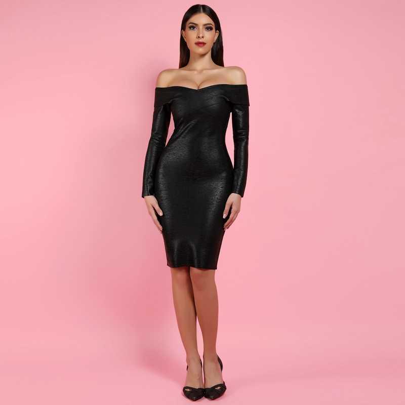 Ocstrade Vestidos Бандажное платье 2019 Новое поступление черное Бандажное платье с принтом из фольги с открытыми плечами облегающее Бандажное платье с длинным рукавом