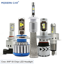цена на MODERN CAR Cree-XHP50 Chips 60W 72W LED Headlight Bulbs H4 H7 H11 H1 H13 880 9005 9006 Fog Light Headlight Hi/Lo LED Car Lights