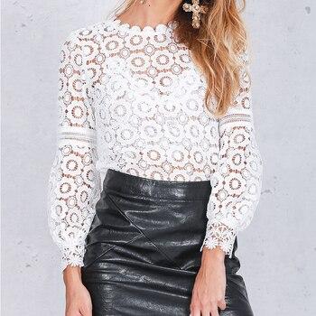 Elegant Floral Lace Blouse Shirt Women Lantern Sleeve White Blouse  1