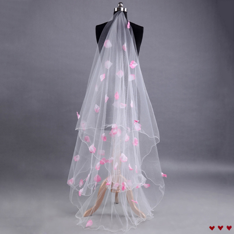 Romantic Wedding Veil Dress Pink Petals Decoration Veil Layers Tulle Ribbon Edge Bridal Veils