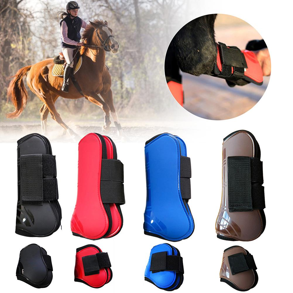 4 Pcs Adjustable Front Back Leg Boots Equine Front Horse Leg Boots Rear Equestrian Tendon Protection Guard 4 Colors