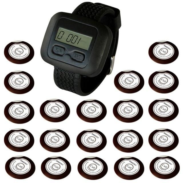Singcall hospital sistema de chamada sem fio para o restaurante, do hotel, Coffee Shop 20 Oon-Botão Sinos e 1 Receptor Relógio