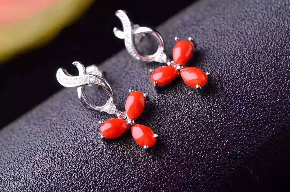 natural red coral drop earrings 925 silver Natural gemstone drop earring for women personality fashion party fine drop Earrings yrd drop lx0468