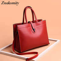 Znakomity Large hand bags women's genuine leather handbag ladies business casual tote bag women satchel messenger shoulder bags