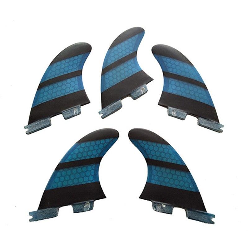 Tri-quad fins set Surf FCS2 K2.1 bleu ailettes En Fiber de verre En Nid D'abeille Carbone fibre aileron de Surf conseil sup Fin