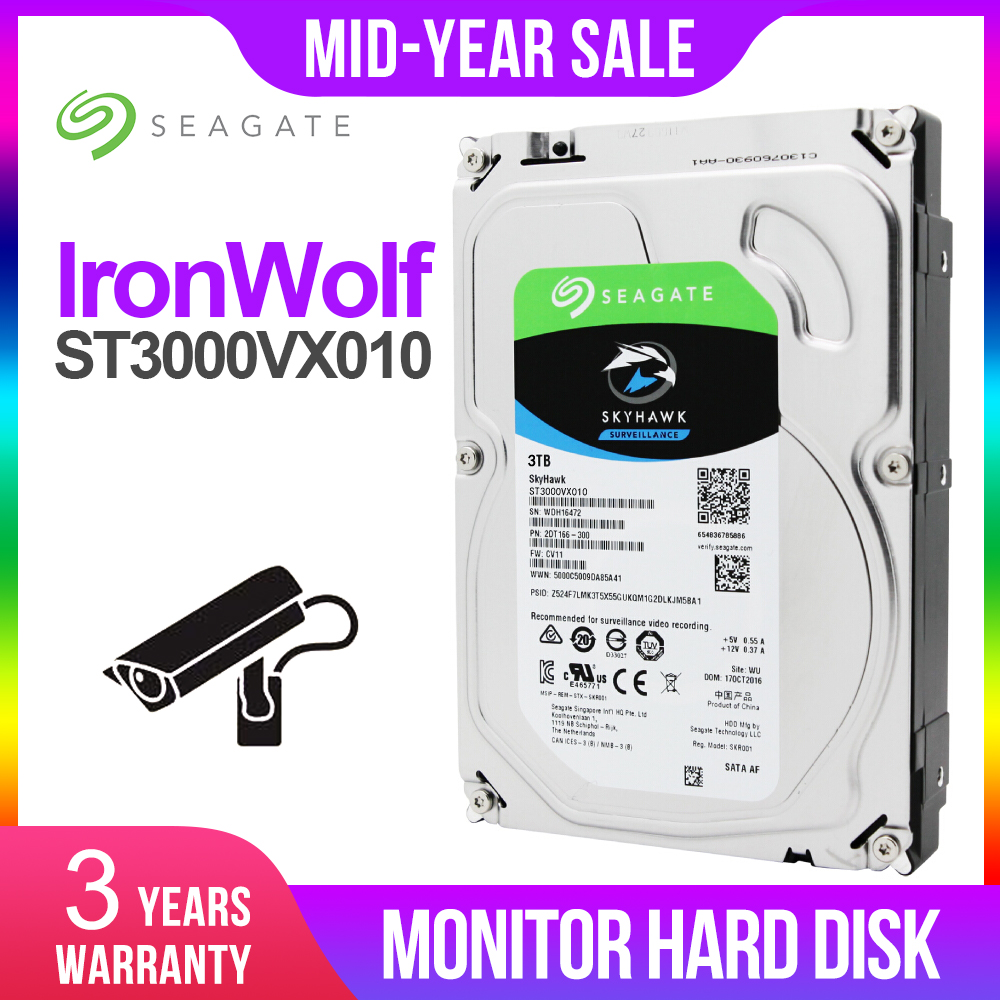 Seagate Internal <font><b>HDD</b></font> Skyhawk 3TB Video Surveillance 5900RPM Hard Disk Drive 3.5