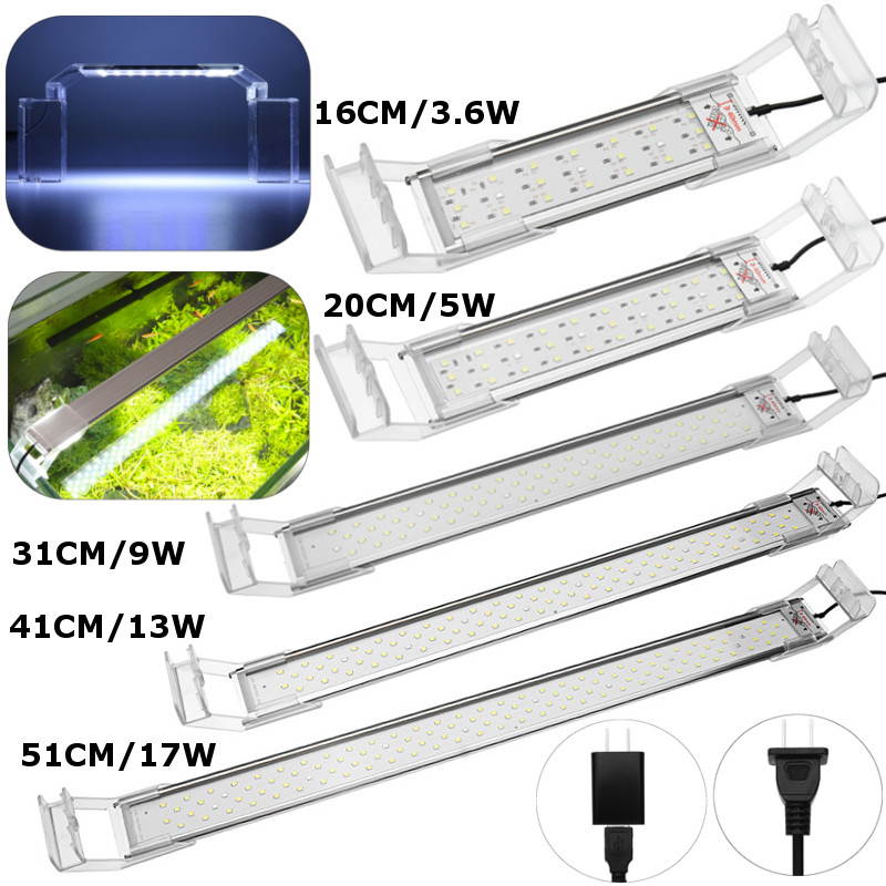 Mising Aquarium Fish Tank 21/30/72/92/120 LED Light 16/20/31/41/51CM Submersible Lights with Brackets Underwater Light