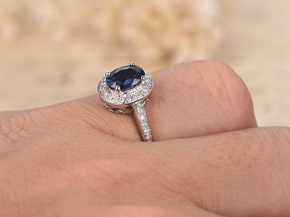 MYRAY Natural Genuine Oval Blue Sapphire Diamond Band Vintage