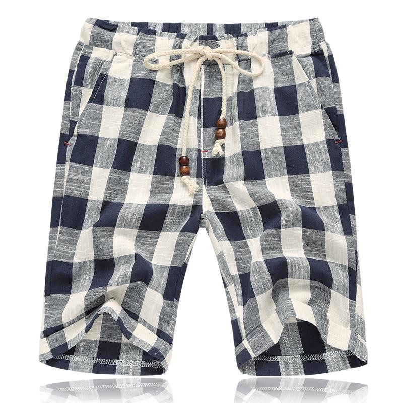 HCXY 2019 Summer style Men's Linen Casual Shorts Men Plaid Striped Linen Cotton Shorts Casual Beach Shorts Men Plus size 5XL
