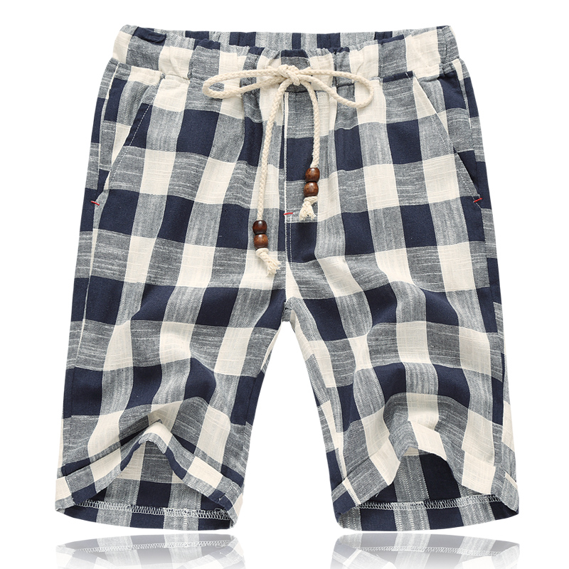 New Fashion Mens Linen Shorts 2017 Sommarstil Märke Män Plaid Bomull Shorts Casual Beach Shorts Män balck och blå