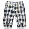 New Fashion Mens Linen Shorts 2017 Summer style Brand Men Plaid cotton shorts Casual Beach Shorts Men balck and blue