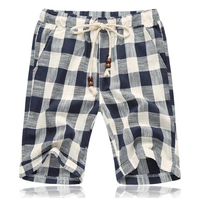 New Fashion Mens Linen Shorts 2017 Summer style Brand Men Plaid cotton shorts Casual Beach Shorts Men balck and blue