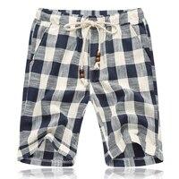 New Fashion Mens Linen Shorts 2017 Summer Style Brand Men Plaid Cotton Shorts Casual Beach Shorts