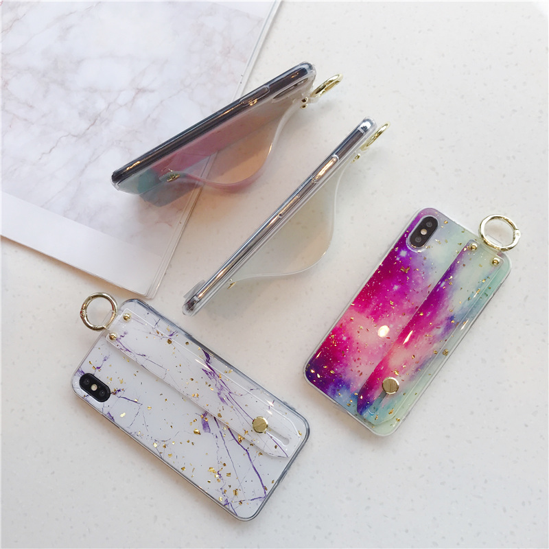 2 SoCouple Wrist Strap Soft TPU Phone Case For iphone 7 8 6 6s plus Case For iphone X Xs max XR  Marble Gold Foil Holder Case