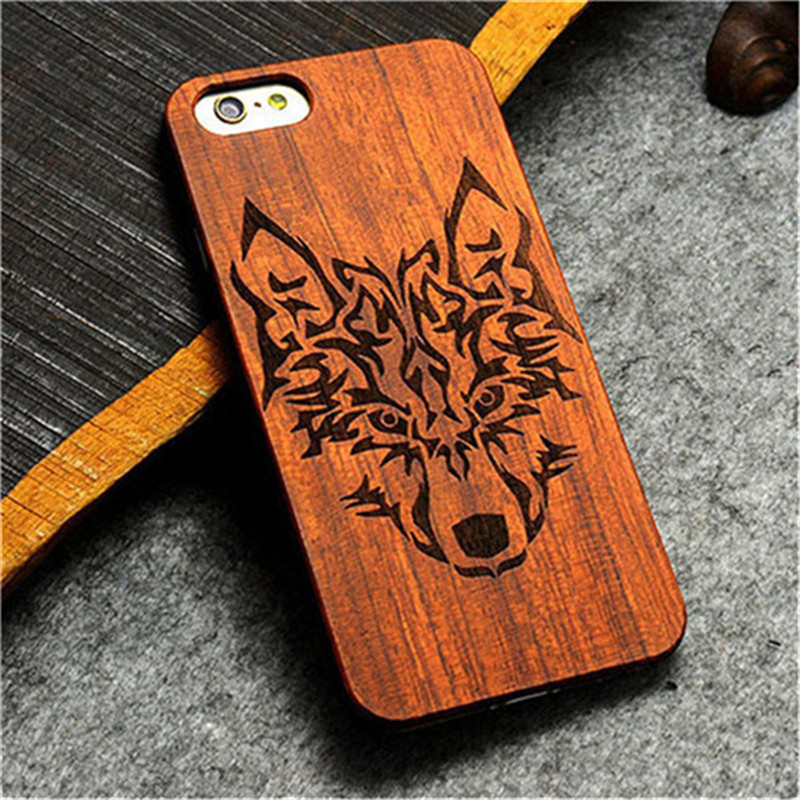 Wooden Hard PC Case Cover for iPhone 7 7 Plus Handmade Carving Pattern Wood Case for