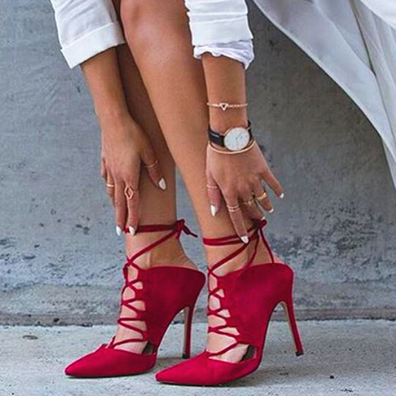 Women Pumps Brand Sexy High Heels Lace-up Ankle Strappy Sandals Zapatos Mujer Wedding Party Woman Shoes Plus Size 35-42 lotus jolly women pumps high heel shoes casual denim rivet sexy fashion lace up shoes woman frayed martin ankle zapatos mujer