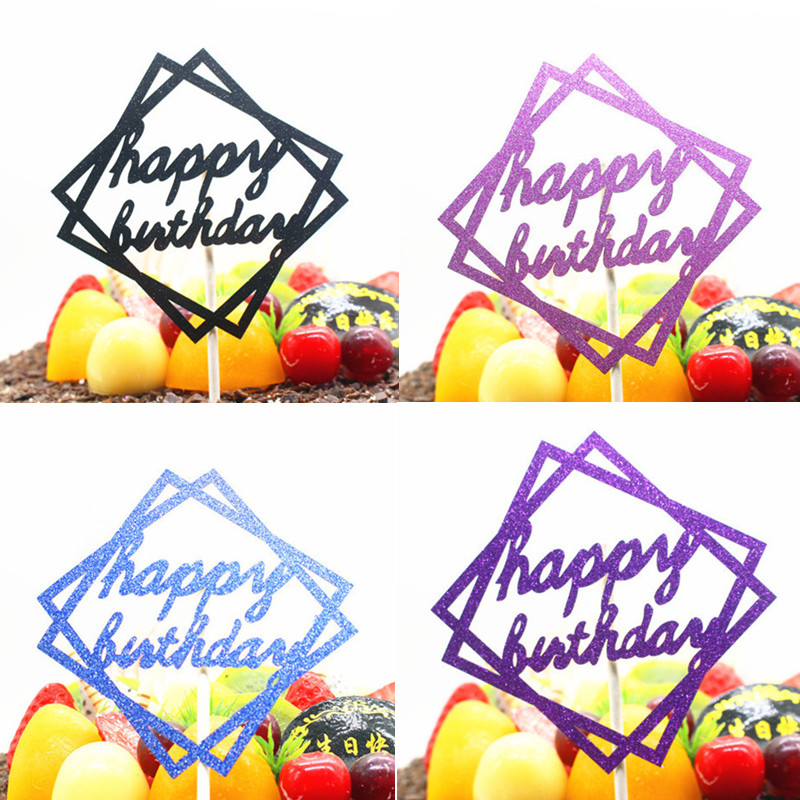 1pc Geometric Happy Birthday Cake Topper Glittler Square Flags Wedding Party Baking Decor Cupcake