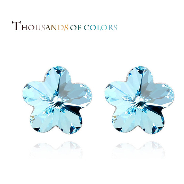 6 colors 1cm*1cm blue Crystal Earrings Austria Sakura ear jewelry Small Cute Design Earring CentreFlower Stud Earrings Lovely