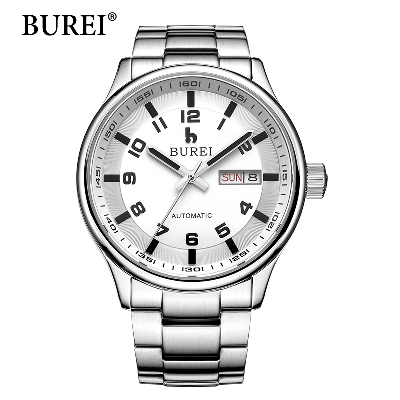 Men Mechanical Watches Luxury Brand BUREI watch Calendar Male Steel Band Hour Waterproof Automatic Wristwatch Hot Sale New Gift burei men watch top brand luxury automatic male clock steel band day and date display white lens mechanical watches hot sale